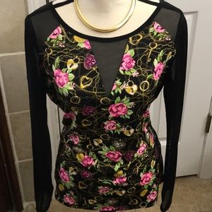 Betsey Johnson Floral Mesh Top